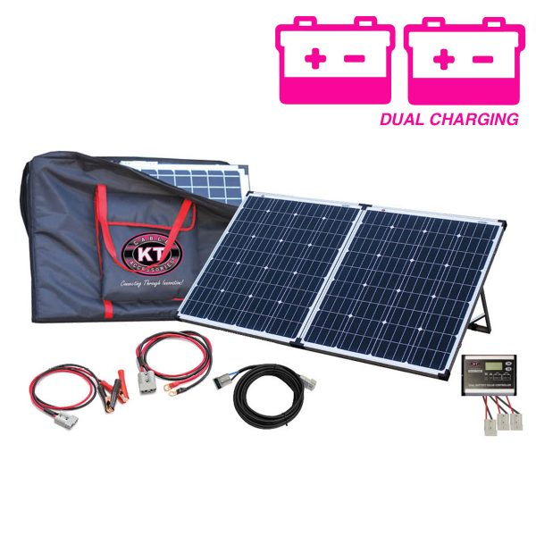 160 Watt, 12V Mono-crystalline Premier Dual Charging Folding Solar Panel Kit