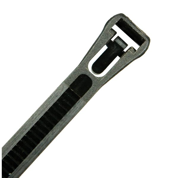 Releasable Cable Ties, Black UV Treated, 300mm Long x 7.6mm Wide, 100 Pack