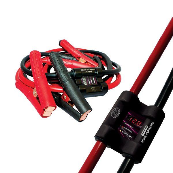 8000V Intelligent Jumper Leads, 12/24V Voltage Display, 450Amp, 3M Length.