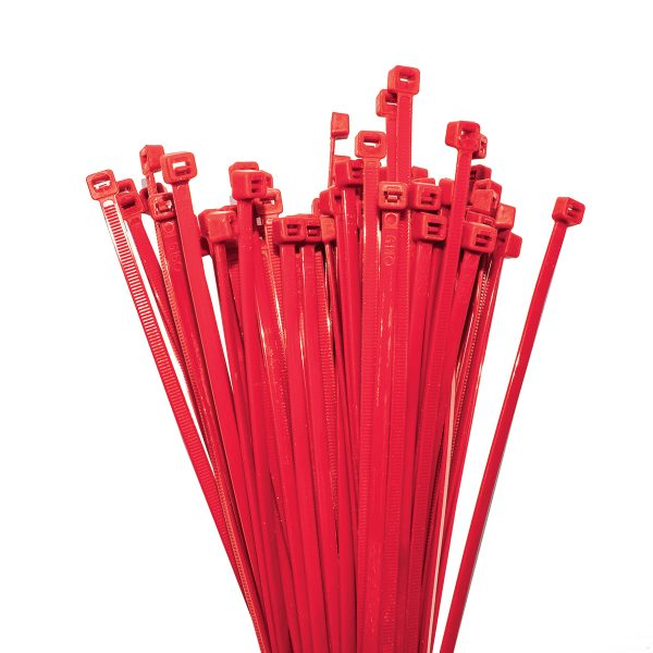Cable Ties, Red, 100mm x 2.5mm, 25 Pack