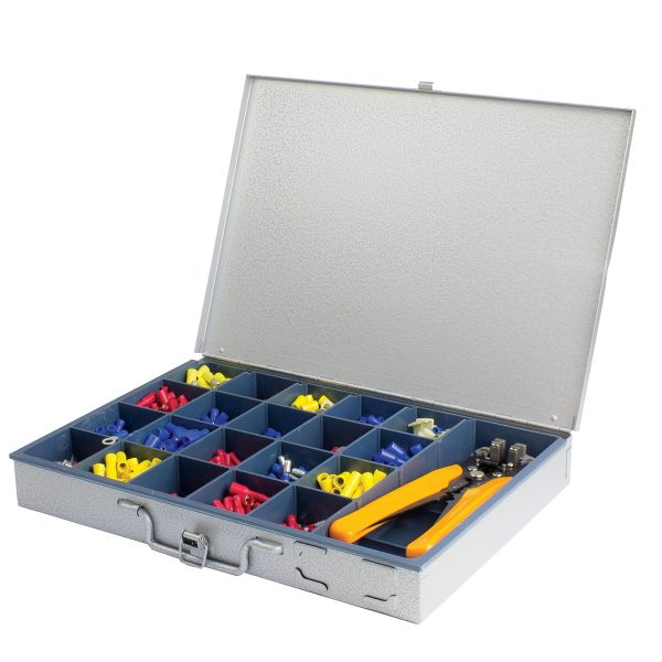 Insulated Terminal Kit Assortment in Heavy Duty Steel Case with Wire Stripper, 731 Pieces