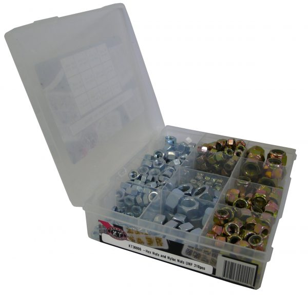 Hex Nuts, Nyloc Bolts, UNF, 340 Piece Blister Pack