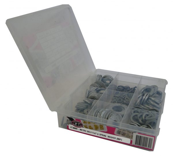 Flat & Spring Washer, Metric, Galvanised, 220 Piece Blister Pack