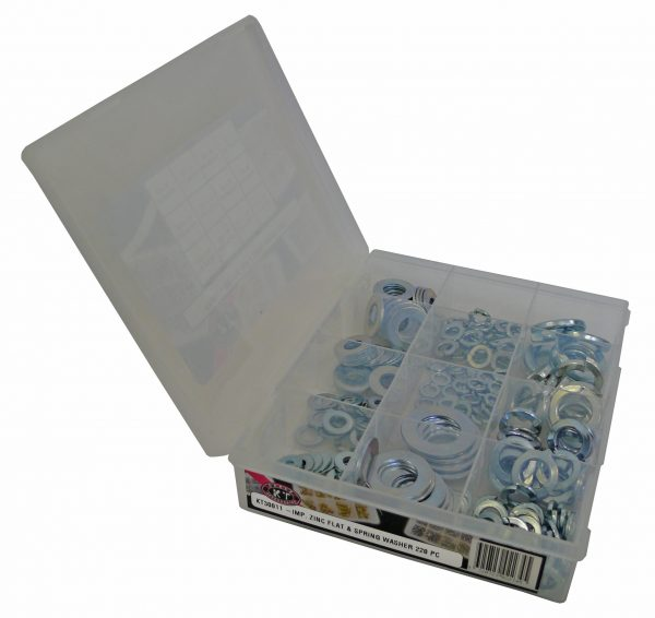 Flat & Spring Washer, Imp, Zinc, 220 Piece Blister Pack