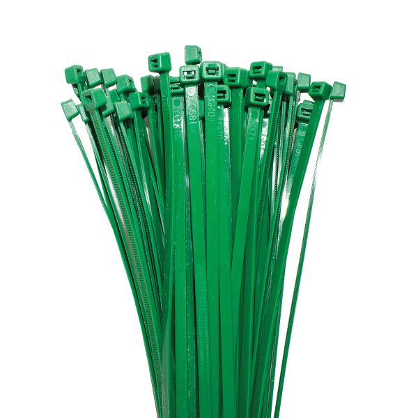 Cable Ties, Green, 300mm x 4.8mm, 25 Pack