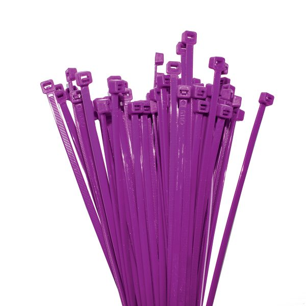 Cable Ties, Purple, 300mm x 4.8mm, 25 Pack