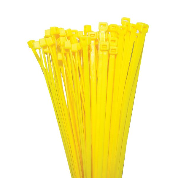 Cable Ties, Yellow, 300mm x 4.8mm, 25 Pack