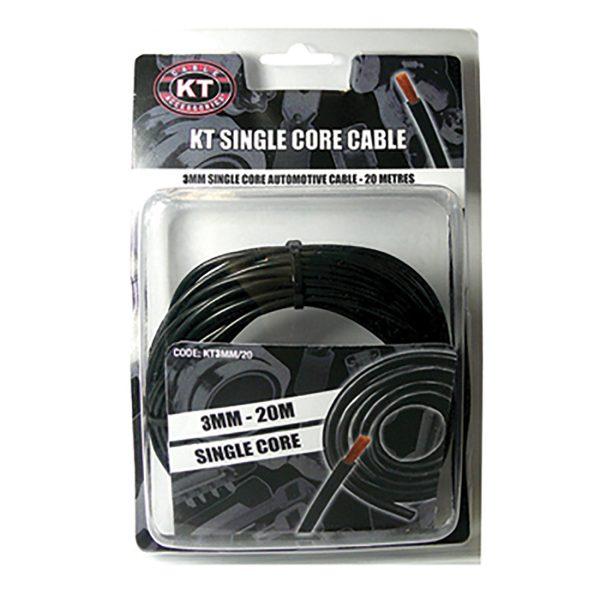 Automotive Single Core Cable, Black, 3mm, 16/.30 Stranding, 20M