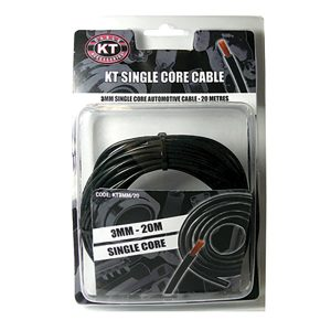 Automotive Single Core Cable, Black, 3mm, 16/.30 Stranding, 20M Spool