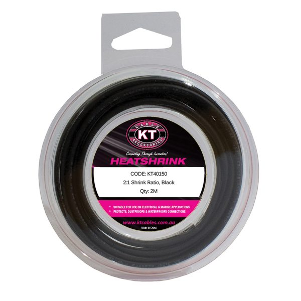Heatshrink, Mini Spool, 2mm, Black, 2M