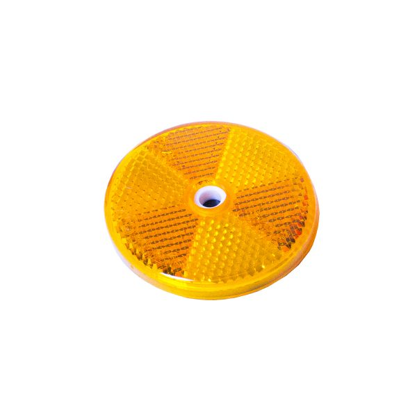 Reflector, Round, Amber, 60mm, 50 Piece Blister Pack