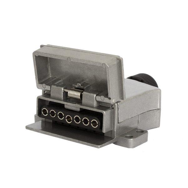 7 Pin, Flat, Trailer Socket, Metal, LED
