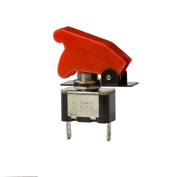 Metal Toggle Switch with Cover, On/Off, 20Amps at 12V, 10Amps at 24V, Retail Blister Qty 1