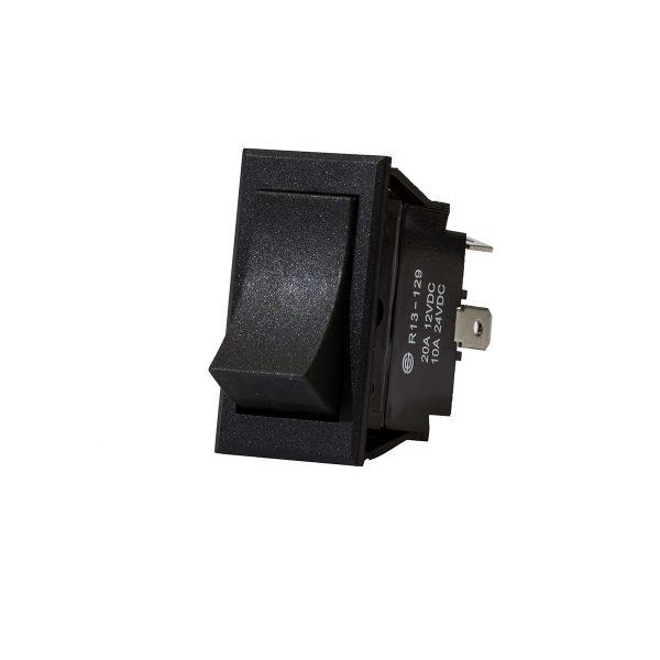 Plastic Rocker Switch, On/Off, Black Rectangle, 20Amps at 12V, 10Amps at 24V, Bulk Qty 1
