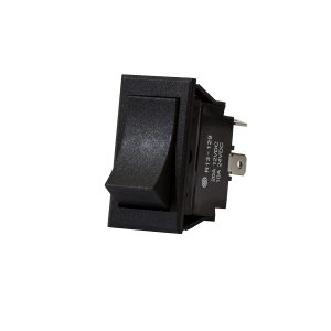 Plastic Rocker Switch, On/Off, Black Rectangle, 20Amps at 12V, 10Amps at 24V, Retail Blister Qty 1