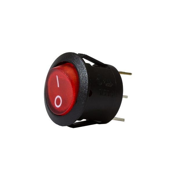 Red Illuminating Round Rocker Switch, On/Off, 20mm Diameter, 10Amps at 12V, Bulk Qty 1