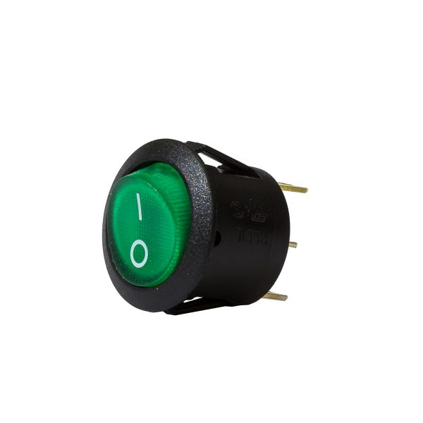 Green Illuminating Round Rocker Switch, On/Off, 20mm Diameter, 10Amps at 12V, Retail Blister Qty 1