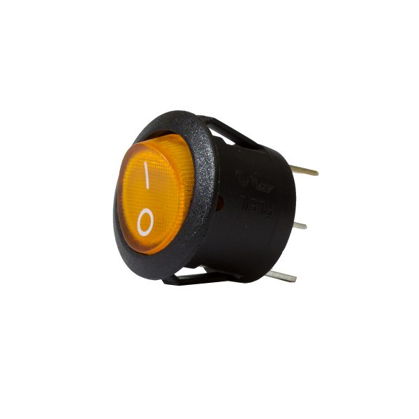 Amber Illuminating Round Rocker Switch, On/Off, 20mm Diameter, 10Amps at 12V, Bulk Qty 1