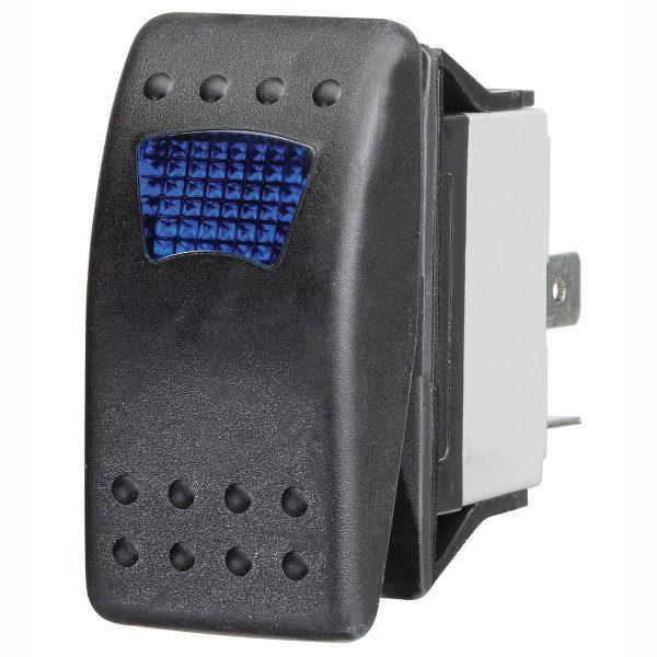 Blue LED Sealed Rocker Switch, On/Off, 16Amps at 12V, Bulk Qty 1