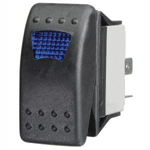 Blue LED Sealed Rocker Switch, On/Off, 16Amps at 12V, Retail Blister Qty 1