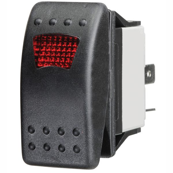 Red LED Sealed Rocker Switch, On/Off, 16Amps at 12V, Bulk Qty 1