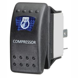 Blue LED 'Air Compressor' Sealed Rocker Switch, On/Off, 16Amps at 12V, Retail Blister Qty 1