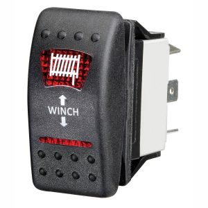 Red LED 'Winch' Sealed Rocker Switch, On/Off, 16Amps at 12V, Retail Blister Qty 1