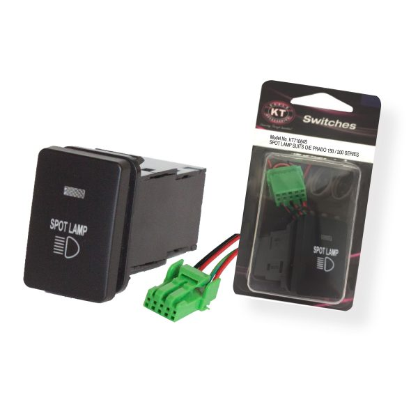 Small OE Style Toyota Push Switch 'Spot Lamp', On/Off, Suits 150 Series & 200 Series Prado, Retail Blister Qty 1