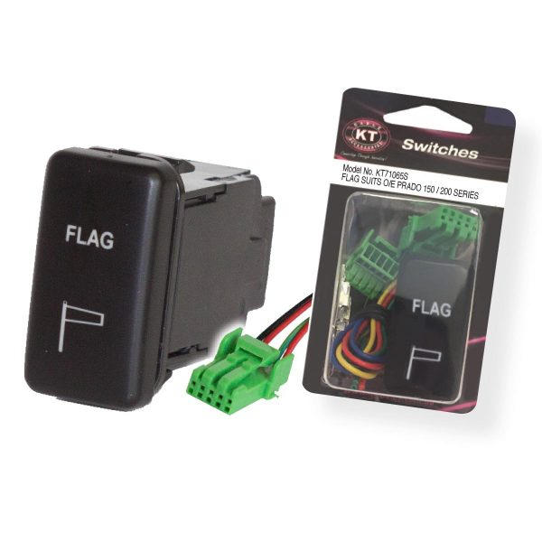 Large OE Style Toyota Push Switch 'Flag', On/Off, Suits 70 Series & 120 Series Prado, Retail Blister Qty 1