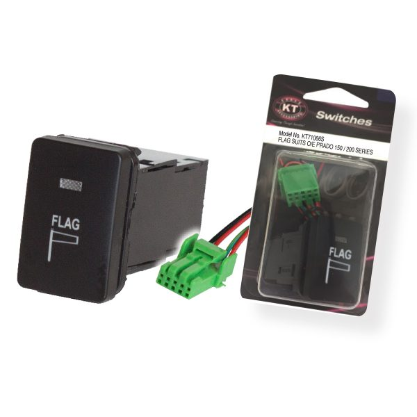 Small OE Style Toyota Push Switch 'Flag', On/Off, Suits 150 Series & 200 Series Prado, Retail Blister Qty 1