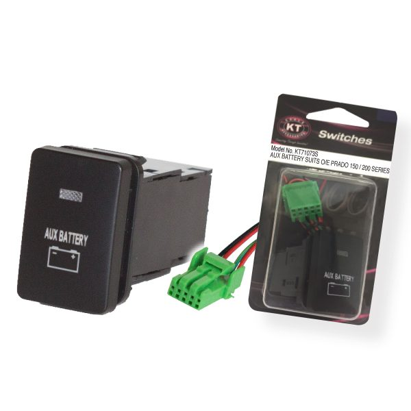 Small OE Style Toyota Push Switch 'Momentary Battery', On/Off, Suits 150 Series & 200 Series Prado, Retail Blister Qty 1