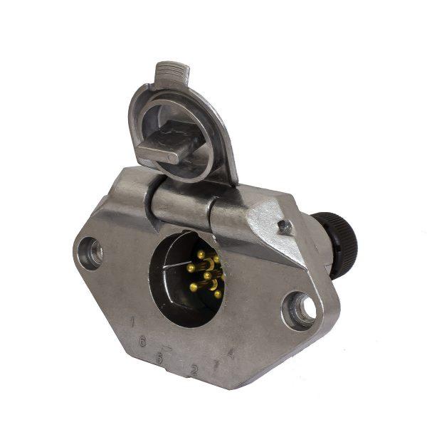 7 Pin, Small Round Trailer Socket, Metal