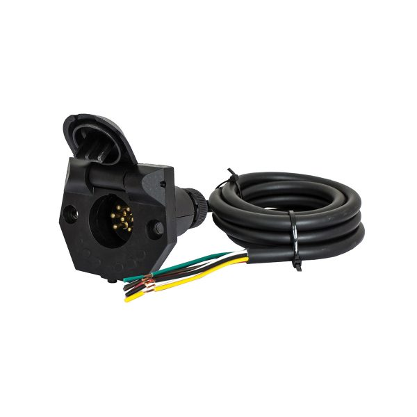 7 Pin, Small Round Trailer Socket, Pre Wired, 1.5M