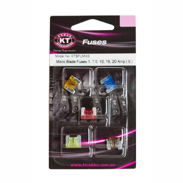 Micro Blade Fuses, 5, 7.5, 10, 15, 20Amp, Blister Pack, 5 Pcs