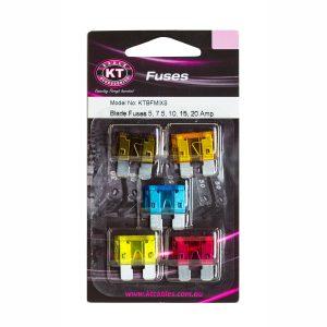 Blade Fuse, 5Amp, 7.5Amp, 10Amp, 15Amp, 20Amp, Blister Pack, 5Pcs