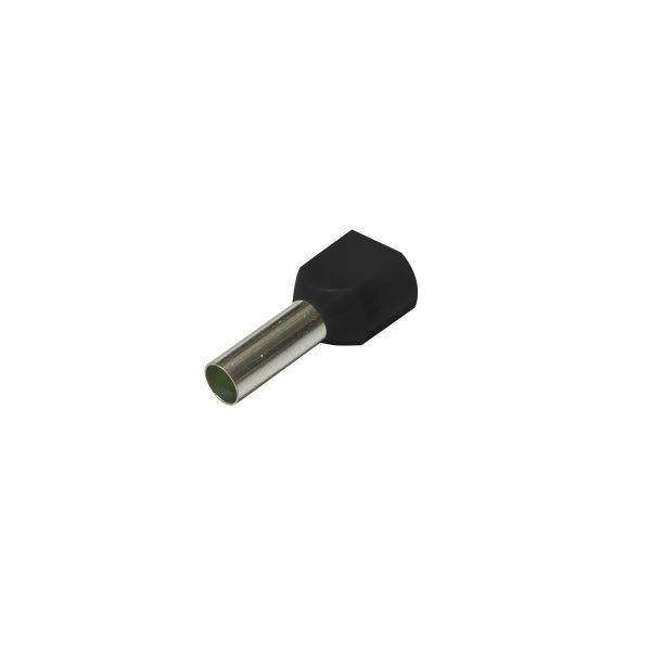 Bootlace Ferrules, Twin Entry, Black, 1.5mm_
