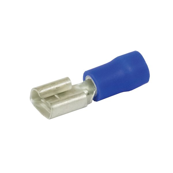 Terminals, Quick Connector, Female, Blue, 6.3mm, Pack 8
