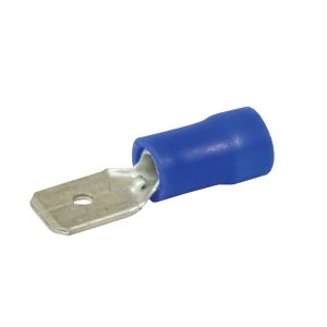 Terminals, Quick Connector, Male, Blue, 6.3mm, Pack 8