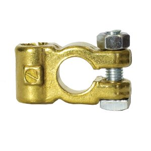 Battery Terminal, Brass Plated, Side Entry, Negative