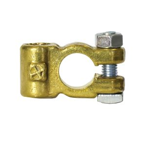 Battery Terminal, Brass Plated, Side Entry, Positive