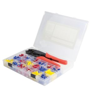 Insulated Terminal Kit Assortments with Ratchet Crimper, 451 Pieces