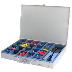 Insulated Terminal Kit Assortment with Ratchet Crimper, Steel Heavy Duty Case, 1101 Pieces
