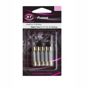 Glass Fuses 5Amp, 7.5Amp, 10Amp, 15Amp, 20Amp, 5 Piece Blister Pack