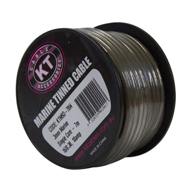 Marine Tinned Single Core Cable, Brown, 4mm, 26/.30 Stranding, 4M Mini Spool