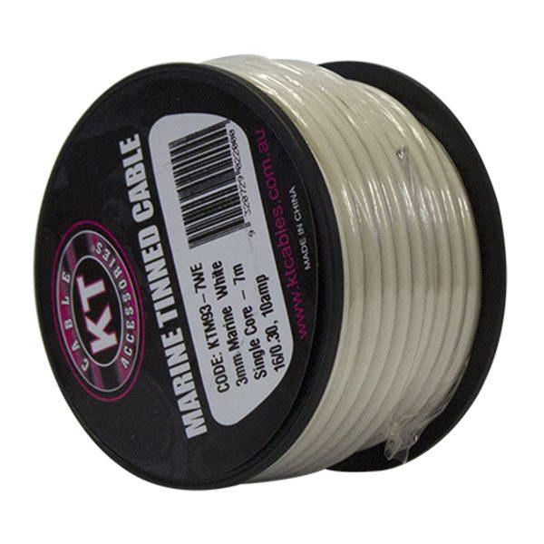 Automotive Single Core Cable, White, 3mm, 16/.30 Stranding, 7M Mini Spool