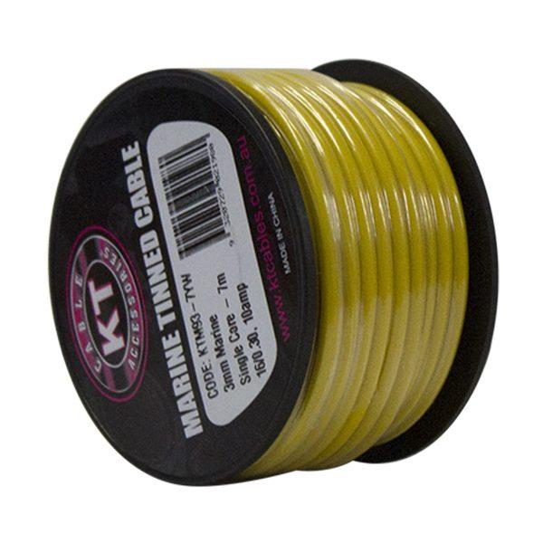 Marine Tinned Single Core Cable, Yellow, 4mm, 26/.30 Stranding, 4M Mini Spool