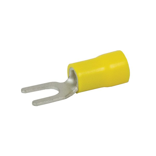 Terminals, Fork, Yellow, 4mm, Pack 8