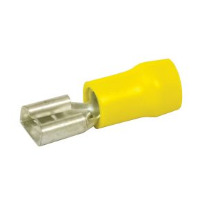 Terminals, Female, Yellow, 6.3mm, Pack 8