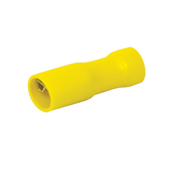 Terminals, Female, Yellow, Fully Insulated, 6.3mm, Pack 8