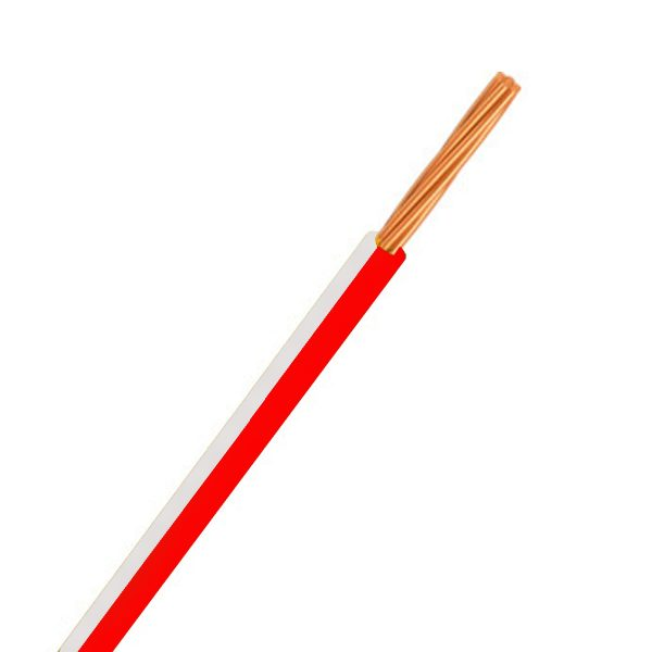 CABLE SINGLE 4MM RED/WHITE 100M 23/.32 STRANDING Product Image 1